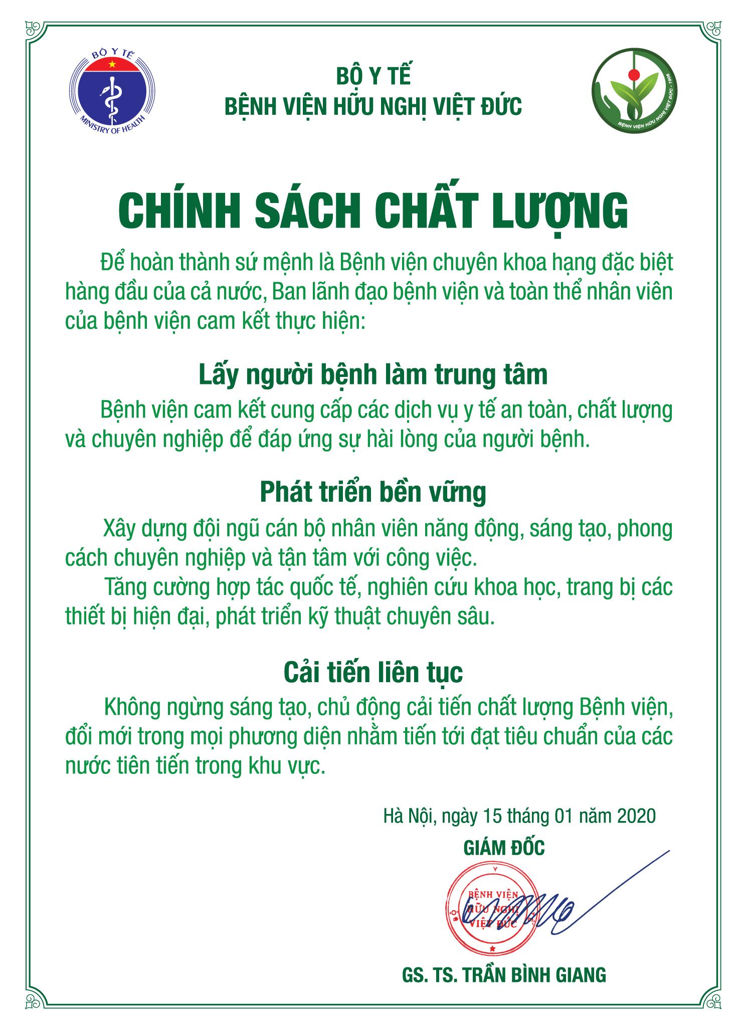 Chính sách chất lượng của Bệnh viện Hữu nghị Việt Đức